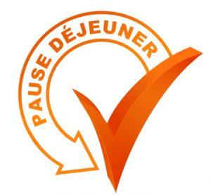 pause djeuner sur symbole valid orange